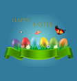 happy easter greetings with easter eggs vector image