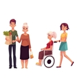 Helping grandmother with shopping and strolling vector image