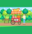 hot dog trailer seller talking to client park vector image vector image