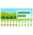 landscape design green lettering trees field vector image