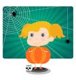 Little Jack o lantern Halloween girl vector image vector image