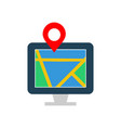 map on monitor flat multi color vector image vector image