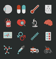 Medical and health icons with black background e vector image vector image