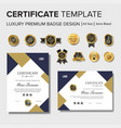 modern certificate design with badge vector image vector image