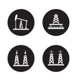 Oil drilling black icons set vector image vector image