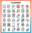 planning concept icon set vector image vector image