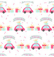 seamless pattern for valentines day with cute cars vector image vector image