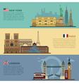 set travel banners - new york paris london vector image