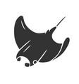 skate glyph icon swimming stingray oceanarium vector image vector image