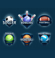 sports balls labels and sport team emblems vector image vector image