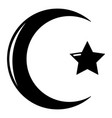 star crescent symbol islam icon simple style vector image vector image