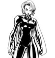 superheroine battle mode no mask line art vector image vector image