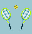 two tennis rackets and a ball vector image vector image
