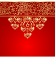Valentines day greeting card red background vector image vector image