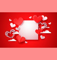 valentines day red paper cut heart background vector image