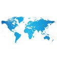 world blue shaded map vector image vector image