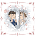 Just Married Couple in Jail Cartoon vector image