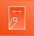 orange sushi bar card with chopstick vector image