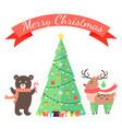 merry christmas greetings cartoon bear and deer vector image