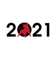 2021 numbers with a red bull silhouette symbol of vector image