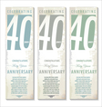 40 years Anniversary retro banner set vector image vector image