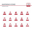 avataras icons set red vector image vector image