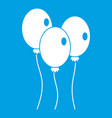 balloons icon white vector image vector image