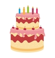birthday cake dessert candles cherry isolated vector image