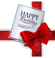 birthday card with red ribbon and birthday vector image