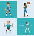 blue and white square buttons set of athletes with vector image