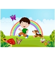 boy running with his pet vector image vector image