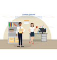 business man and woman in office diverse vector image