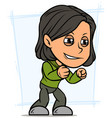 cartoon angry standing brunette girl character vector image vector image