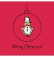 Christmas ball with snowman vector image vector image