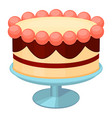 colorful cartoon birthday cake on stand vector image