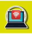 computer laptop with wifi connection isolated icon vector image