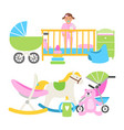 cute babies equipment for life collection vector image vector image