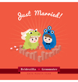 Cute kawaii groom monster and bridezilla character vector image vector image