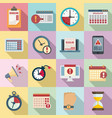 deadline icons set flat style vector image vector image