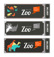 design template of zoo tickets with different wild vector image vector image