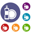 dishwashing liquid detergent and dish icons set vector image vector image