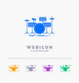 drum drums instrument kit musical 5 color glyph vector image