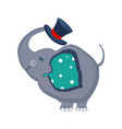 elephant holding a hat with trunk vector image vector image