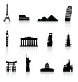 famous monument icons set vector image vector image