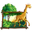 Giraffe running in the forest vector image vector image