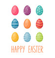 happy easter card with eggs and handwriting text vector image