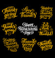 happy thanksgiving lettering greeting cards vector image