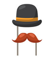 hat and mustache carnival costume party vector image vector image