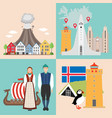 iceland national attractions backgrounds vector image vector image