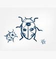 ladybug insect art line isolated doodle vector image